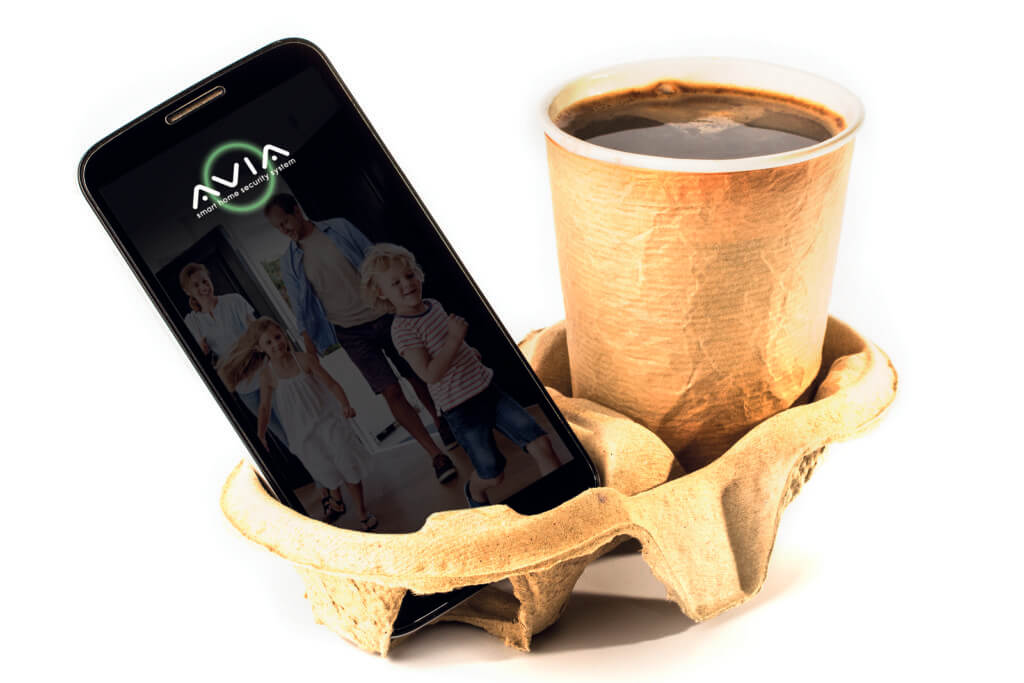 Phone And Coffee On The Stand. Concept Of Breakfast With Coffee
